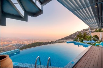 swimming pool overlooking hills
